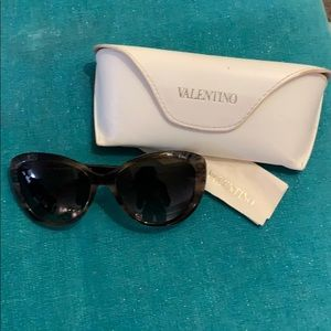 Valentino BlackBrown Sunglasses RoseEmbellishment